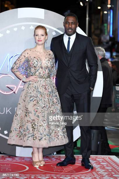 Jessica Chastain and Idris Elba attend the 'Molly's Game' UK premiere at Vue West End on December 6 2017 in London England