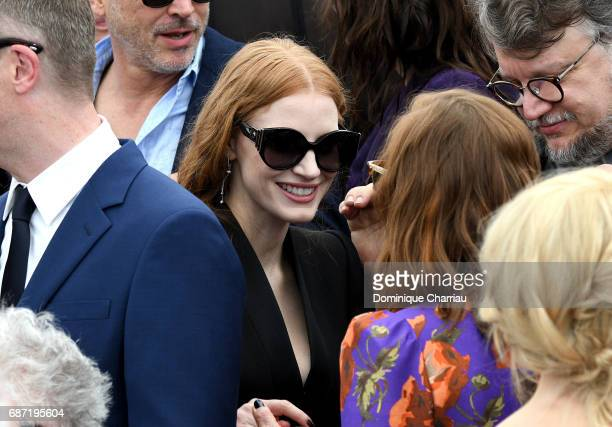 Jessica Chastain and Isabelle Huppert attend the 70th Anniversary photocall during the 70th annual Cannes Film Festival at Palais des Festivals on...