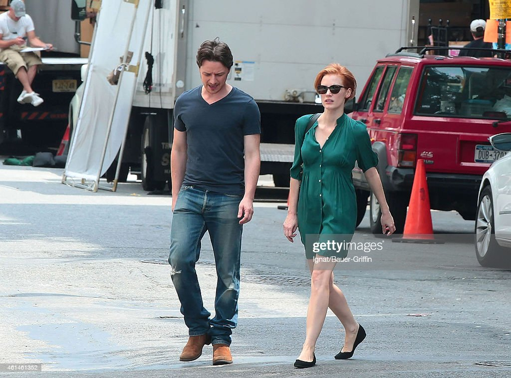 Jessica Chastain and James McAvoy are seen on the movie set of The Disappearance of Eleanor Rigby Him' on July 30 2012 in New York City