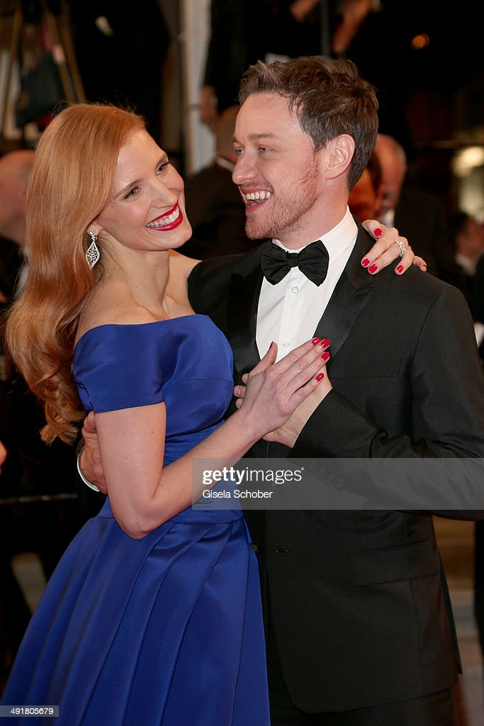<a gi-track='captionPersonalityLinkClicked' href=/galleries/search?phrase=Jessica+Chastain&family=editorial&specificpeople=653192 ng-click='$event.stopPropagation()'>Jessica Chastain</a> and <a gi-track='captionPersonalityLinkClicked' href=/galleries/search?phrase=James+McAvoy&family=editorial&specificpeople=647005 ng-click='$event.stopPropagation()'>James McAvoy</a> attend 'The Disappearance Of Eleanor Rigby' Premiere at the 67th Annual Cannes Film Festival on May 17, 2014 in Cannes, France.