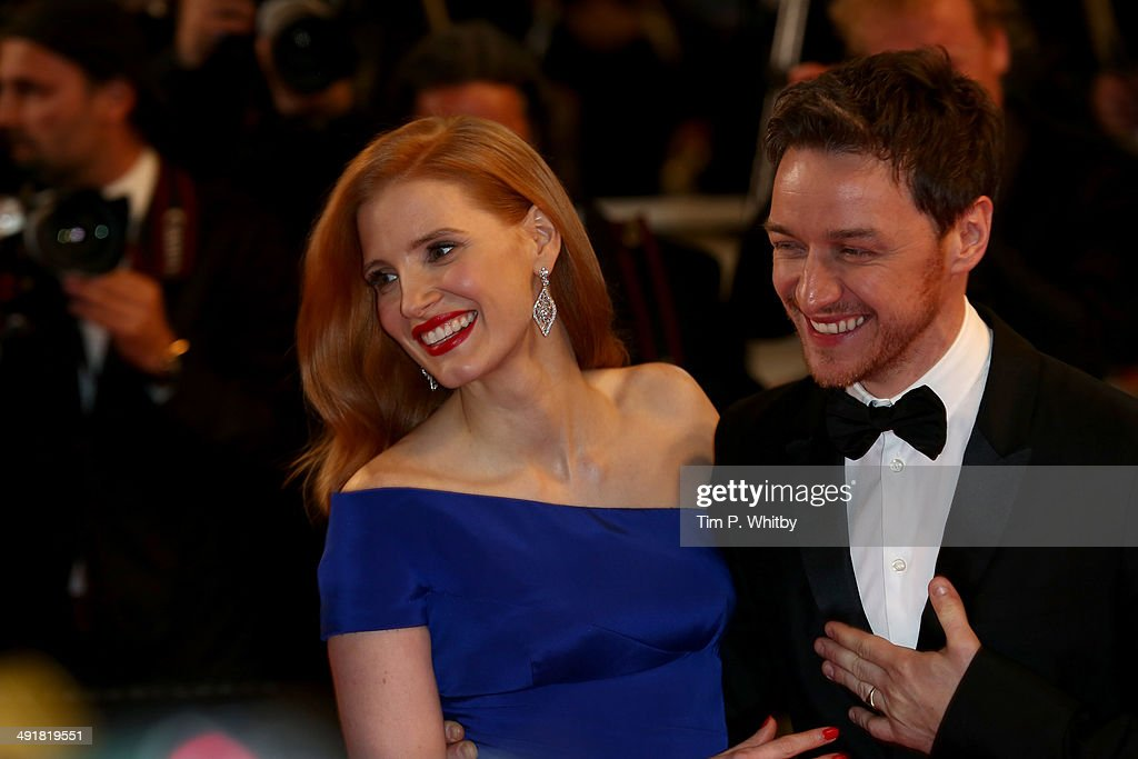 Jessica Chastain and James McAvoy attend 'The Disappearance of Eleanor Rigby' premiere during the 67th Annual Cannes Film Festival on May 17, 2014 in Cannes, France.