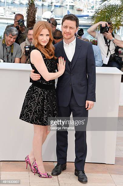 Jessica Chastain and James McAvoy attend 'The Disappearance Of Eleanor Rigby' photocall at the 67th Annual Cannes Film Festival on May 18 2014 in...