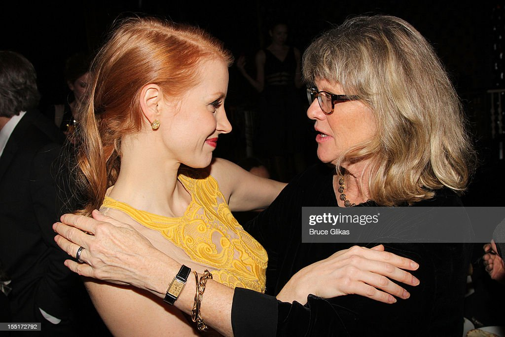 <a gi-track='captionPersonalityLinkClicked' href=/galleries/search?phrase=Jessica+Chastain&family=editorial&specificpeople=653192 ng-click='$event.stopPropagation()'>Jessica Chastain</a> and <a gi-track='captionPersonalityLinkClicked' href=/galleries/search?phrase=Judith+Ivey&family=editorial&specificpeople=706193 ng-click='$event.stopPropagation()'>Judith Ivey</a> attend the opening night after party for the revival of 'The Heiress' on Broadway at The Edison Ballroom on November 1, 2012 in New York City.