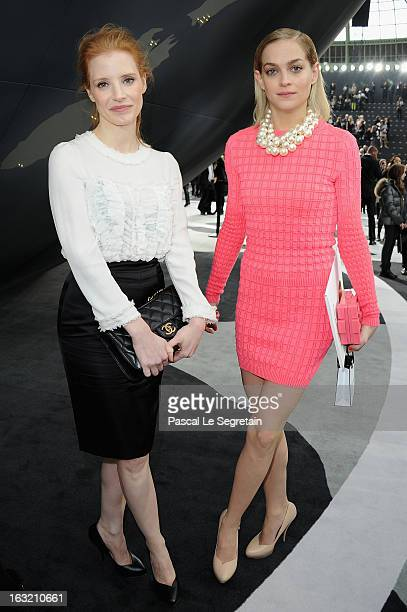 Jessica Chastain and Leigh Lezark attend the Chanel Fall/Winter 2013 ReadytoWear show as part of Paris Fashion Week at Grand Palais on March 5 2013...