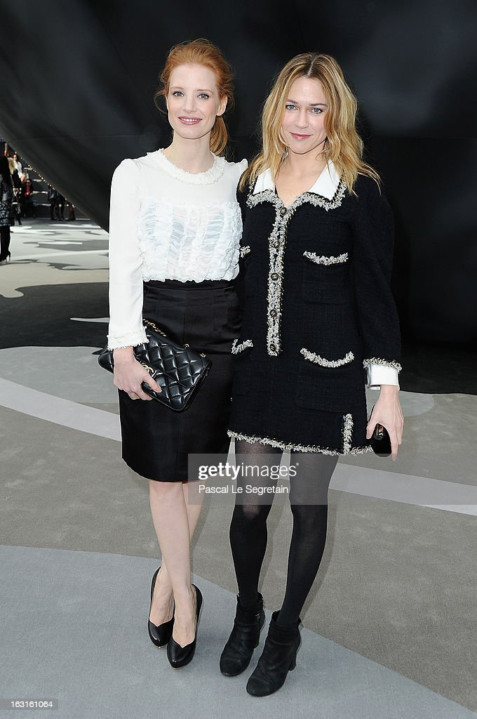 <a gi-track='captionPersonalityLinkClicked' href=/galleries/search?phrase=Jessica+Chastain&family=editorial&specificpeople=653192 ng-click='$event.stopPropagation()'>Jessica Chastain</a> and Marie Jose Croze attend the Chanel Fall/Winter 2013 Ready-to-Wear show as part of Paris Fashion Week at Grand Palais on March 5, 2013 in Paris, France.