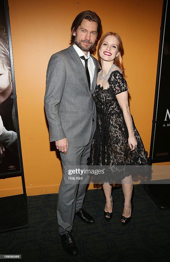 Jessica Chastain and Nicolaj Coster-Waldau attend the 'Mama' screening at Landmark's Sunshine Cinema on January 7, 2013 in New York City.