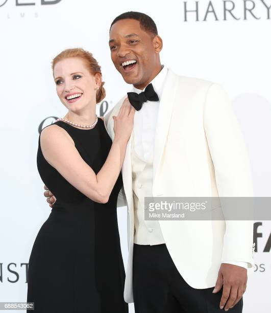 Jessica Chastain and Will Smith arrives at the amfAR Gala Cannes 2017 at Hotel du CapEdenRoc on May 25 2017 in Cap d'Antibes France