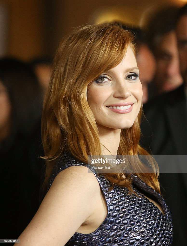 <a gi-track='captionPersonalityLinkClicked' href=/galleries/search?phrase=Jessica+Chastain&family=editorial&specificpeople=653192 ng-click='$event.stopPropagation()'>Jessica Chastain</a> arrives at AFI FEST 2014 presented by Audi - opening night gala screening of 'A Most Violent Year' held at Dolby Theatre on November 6, 2014 in Hollywood, California.