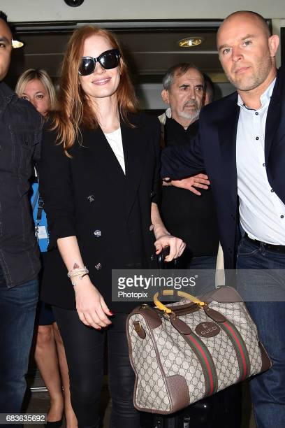 Jessica Chastain arrives at Nice airport ahead of the 70th annual Cannes Film Festival at on May 16 2017 in Cannes France