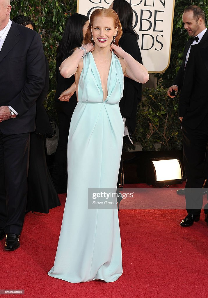 Jessica Chastain arrives at the 70th Annual Golden Globe Awards at The Beverly Hilton Hotel on January 13, 2013 in Beverly Hills, California.