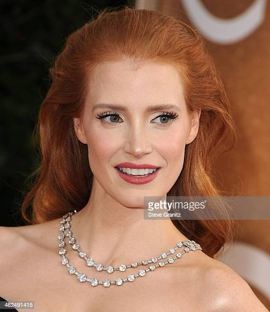 Jessica Chastain arrives at the 71st Annual Golden Globe Awards at The Beverly Hilton Hotel on January 12 2014 in Beverly Hills California
