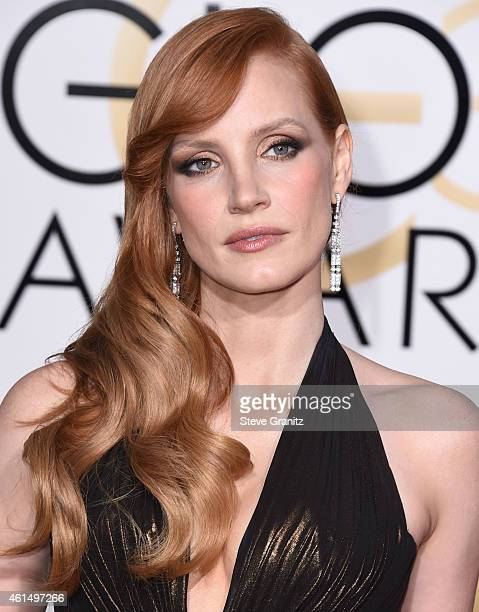 Jessica Chastain arrives at the 72nd Annual Golden Globe Awards at The Beverly Hilton Hotel on January 11 2015 in Beverly Hills California