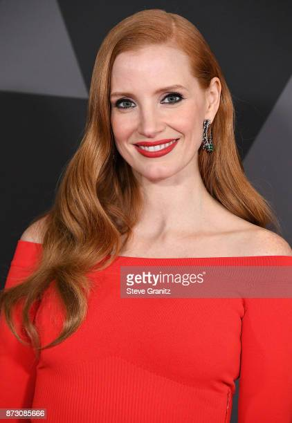 Jessica Chastain arrives at the Academy Of Motion Picture Arts And Sciences' 9th Annual Governors Awards at The Ray Dolby Ballroom at Hollywood...