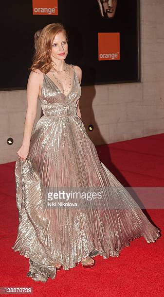 Jessica Chastain arrives at the after party of Orange British Academy Film Awards 2012 at Grosvenor House on February 12 2012 in London England