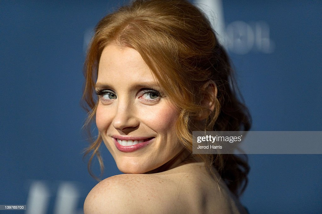 Jessica Chastain arrives at The Hollywood Reporter celebrates the 84th annual Academy Awards nominees at the Getty House on February 23 2012 in Los...