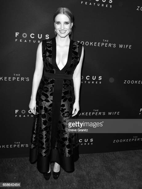 Jessica Chastain arrives at the Premiere Of Focus Features' 'The Zookeeper's Wife' at ArcLight Hollywood on March 27 2017 in Hollywood California