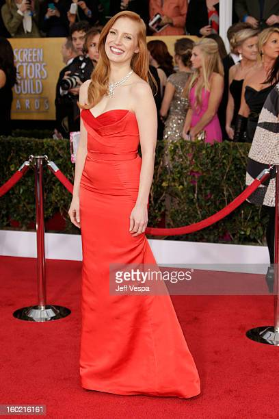 Jessica Chastain arrives at the19th Annual Screen Actors Guild Awards held at The Shrine Auditorium on January 27 2013 in Los Angeles California