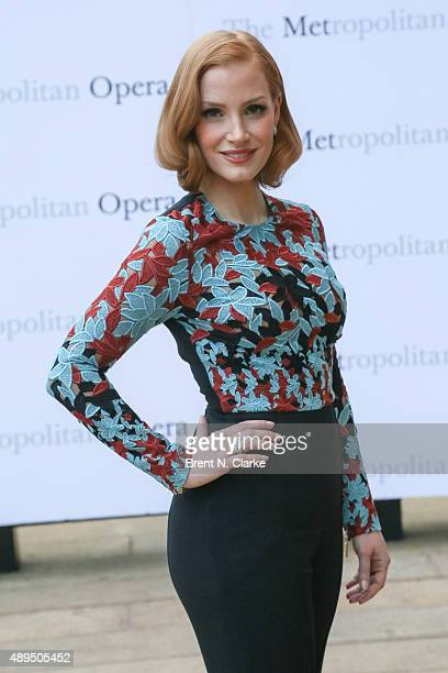 Jessica Chastain arrives for the Metropolitan Opera's 20152016 season opening night performance of 'Otello' held at The Metropolitan Opera House on...