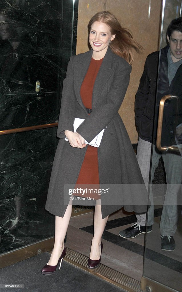 <a gi-track='captionPersonalityLinkClicked' href=/galleries/search?phrase=Jessica+Chastain&family=editorial&specificpeople=653192 ng-click='$event.stopPropagation()'>Jessica Chastain</a> as seen on February 14, 2013 in New York City.