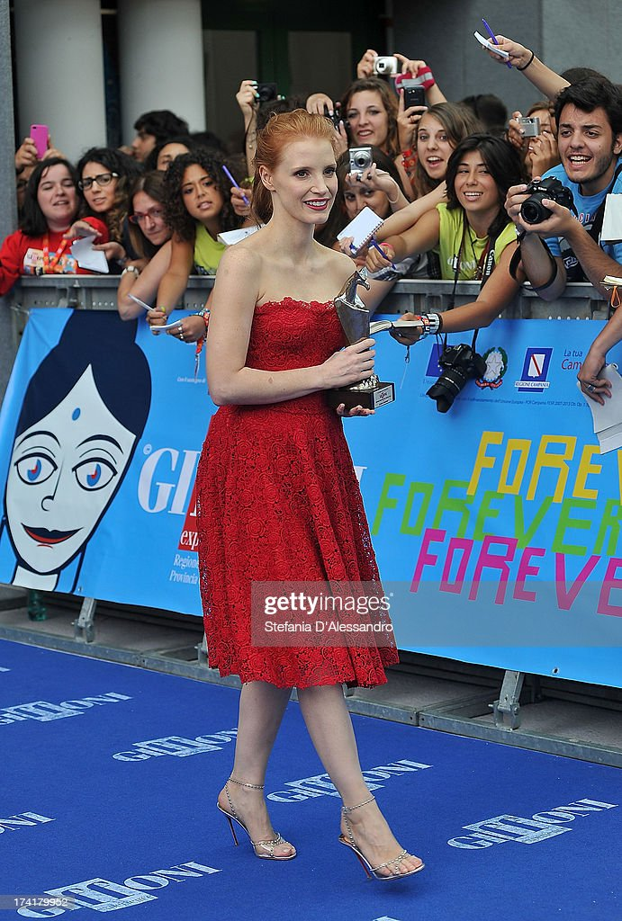 Jessica Chastain attends 2013 Giffoni Film Festival Blue Carpet on July 21, 2013 in Giffoni Valle Piana, Italy.