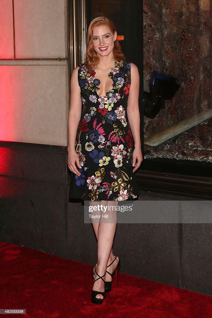 Jessica Chastain attends a celebration of Bergdorf Goodman Windows inspired by the Legendary Pictures and Universal Pictures film, 'Crimson Peak' at Bergdorf Goodman on October 13, 2015 in New York City.