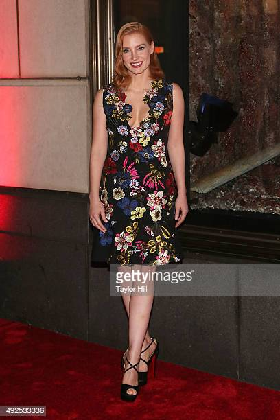 Jessica Chastain attends a celebration of Bergdorf Goodman Windows inspired by the Legendary Pictures and Universal Pictures film 'Crimson Peak' at...