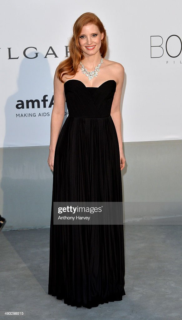 Jessica Chastain attends amfAR's 21st Cinema Against AIDS Gala, Presented By WORLDVIEW, BOLD FILMS, And BVLGARI at the 67th Annual Cannes Film Festival on May 22, 2014 in Cap d'Antibes, France.