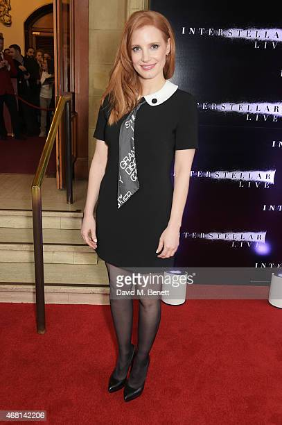 Jessica Chastain attends at a special screening of 'Interstellar Live' at Royal Albert Hall on March 30 2015 in London England