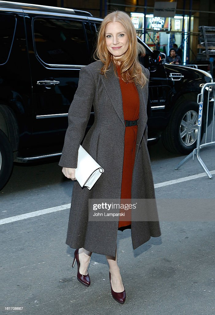 <a gi-track='captionPersonalityLinkClicked' href=/galleries/search?phrase=Jessica+Chastain&family=editorial&specificpeople=653192 ng-click='$event.stopPropagation()'>Jessica Chastain</a> attends Calvin Klein Collection during Fall 2013 Mercedes-Benz Fashion Week on February 14, 2013 in New York City.