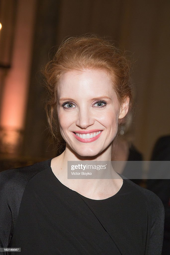 <a gi-track='captionPersonalityLinkClicked' href=/galleries/search?phrase=Jessica+Chastain&family=editorial&specificpeople=653192 ng-click='$event.stopPropagation()'>Jessica Chastain</a> attends 'CR Fashion Book Issue 2' - Carine Roitfeld Cocktail as part of Paris Fashion Week at Hotel Shangri-La on March 5, 2013 in Paris, France.