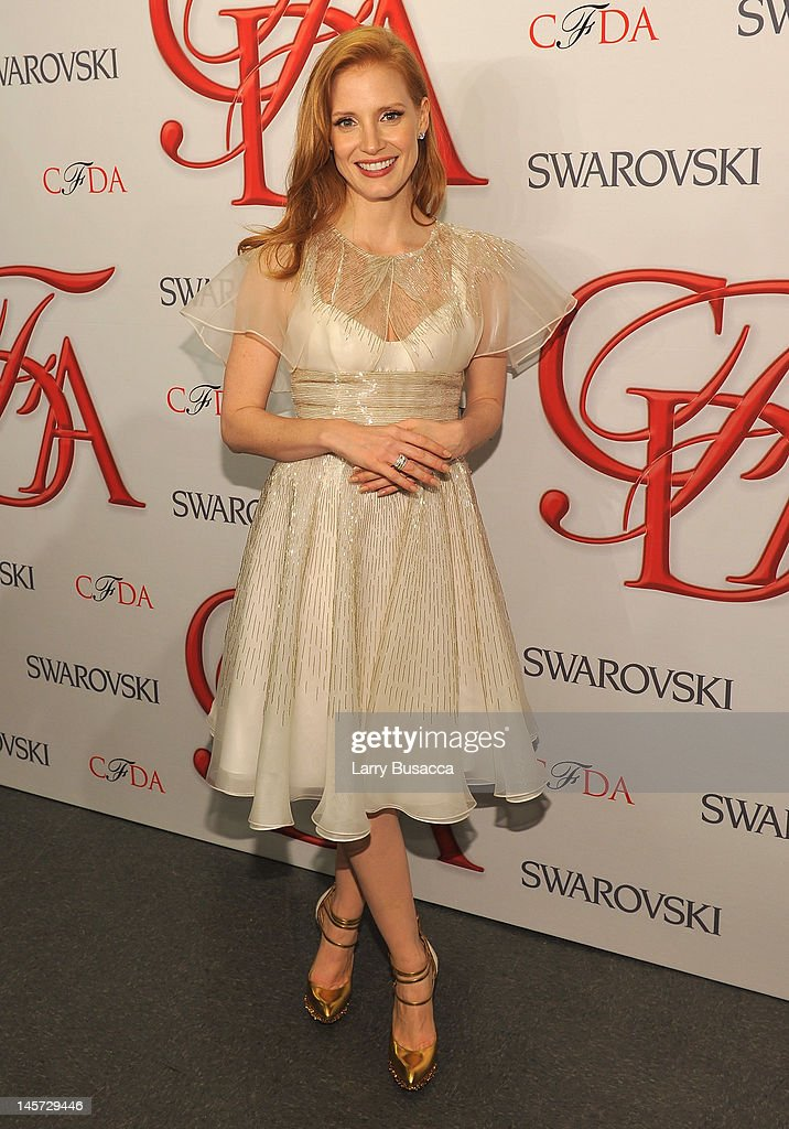 <a gi-track='captionPersonalityLinkClicked' href=/galleries/search?phrase=Jessica+Chastain&family=editorial&specificpeople=653192 ng-click='$event.stopPropagation()'>Jessica Chastain</a> attends the 2012 CFDA Fashion Awards at Alice Tully Hall on June 4, 2012 in New York City.