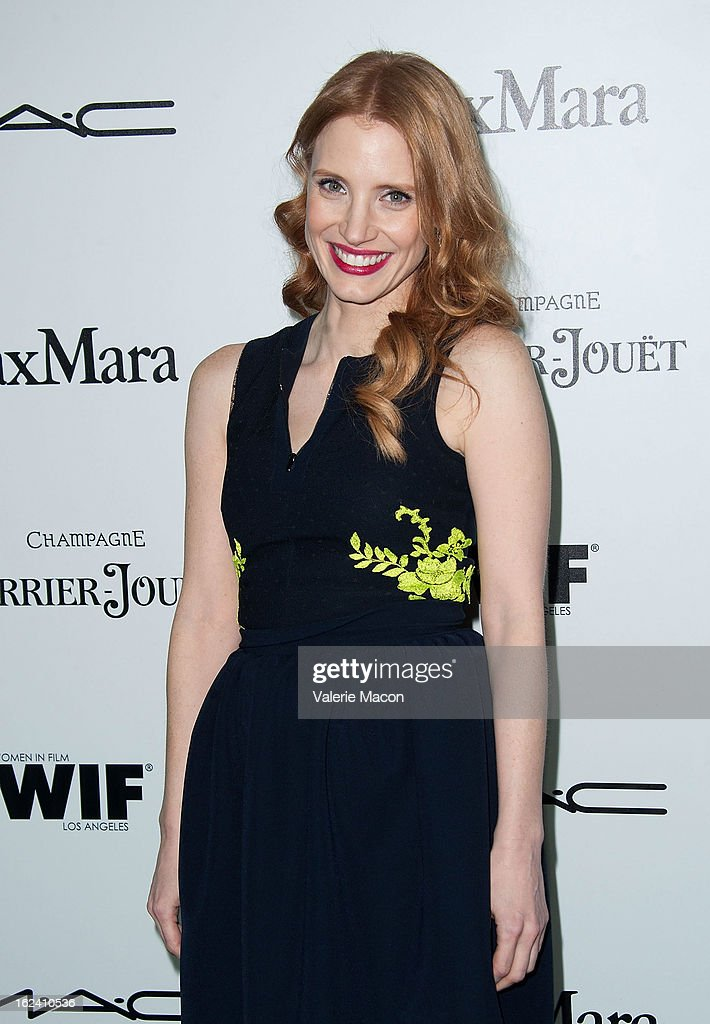 <a gi-track='captionPersonalityLinkClicked' href=/galleries/search?phrase=Jessica+Chastain&family=editorial&specificpeople=653192 ng-click='$event.stopPropagation()'>Jessica Chastain</a> attends the 6th Annual Women In Film Pre-Oscar Party hosted by Perrier Jouet, MAC Cosmetics and MaxMara at Fig & Olive Melrose Place on February 22, 2013 in West Hollywood, California.
