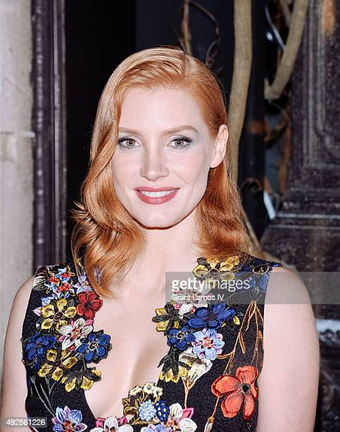 Jessica Chastain attends the Bergdorf Goodman 'Crimson Peak' inspired window unveiling at Bergdorf Goodman on October 13 2015 in New York City
