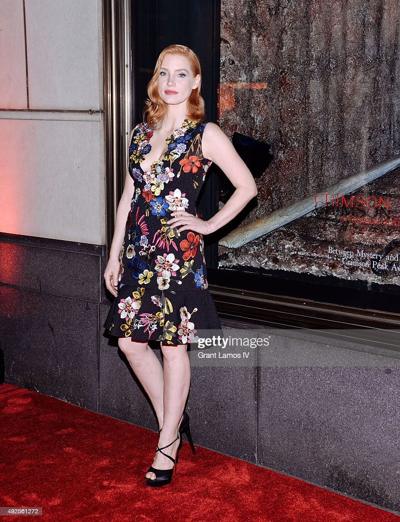 Jessica Chastain attends the Bergdorf Goodman 'Crimson Peak' inspired window unveiling at Bergdorf Goodman on October 13, 2015 in New York City.