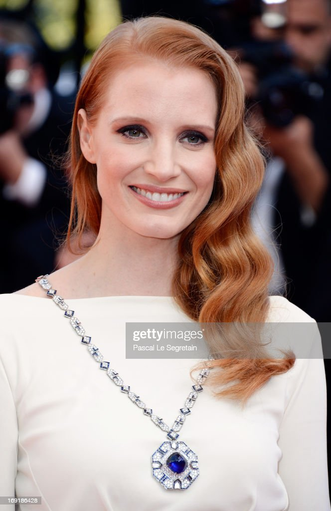 Jessica Chastain attends the 'Cleopatra' premiere during The 66th Annual Cannes Film Festival at The 60th Anniversary Theatre on May 21, 2013 in Cannes, France.