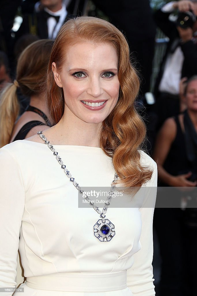 <a gi-track='captionPersonalityLinkClicked' href=/galleries/search?phrase=Jessica+Chastain&family=editorial&specificpeople=653192 ng-click='$event.stopPropagation()'>Jessica Chastain</a> attends the 'Cleopatra' premiere during The 66th Annual Cannes Film Festival at Theatre Lumiere on May 21, 2013 in Cannes, France.