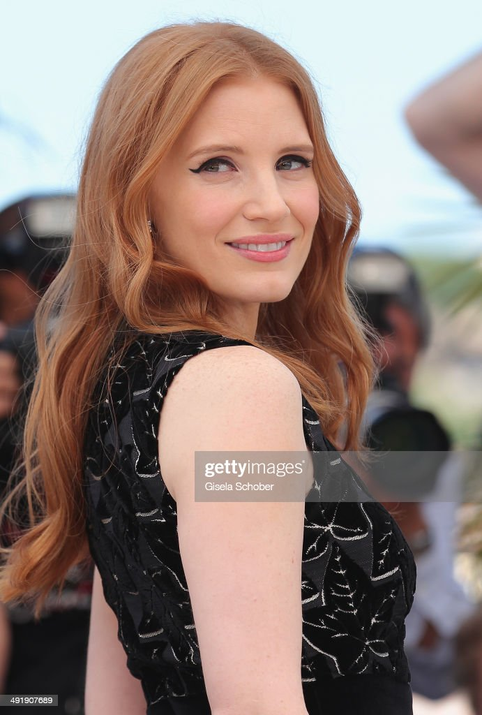 <a gi-track='captionPersonalityLinkClicked' href=/galleries/search?phrase=Jessica+Chastain&family=editorial&specificpeople=653192 ng-click='$event.stopPropagation()'>Jessica Chastain</a> attends 'The Disappearance of Eleanor Rigby' photocall at the 67th Annual Cannes Film Festival on May 18, 2014 in Cannes, France.