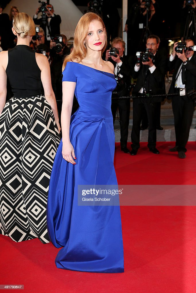 <a gi-track='captionPersonalityLinkClicked' href=/galleries/search?phrase=Jessica+Chastain&family=editorial&specificpeople=653192 ng-click='$event.stopPropagation()'>Jessica Chastain</a> attends 'The Disappearance Of Eleanor Rigby' Premiere at the 67th Annual Cannes Film Festival on May 17, 2014 in Cannes, France.