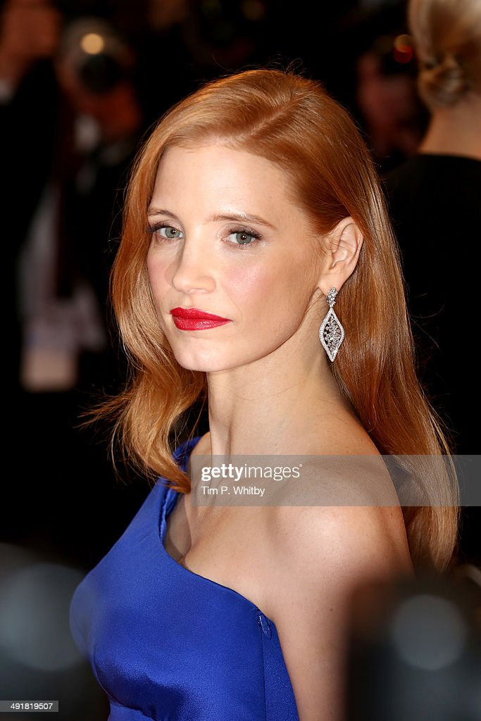 <a gi-track='captionPersonalityLinkClicked' href=/galleries/search?phrase=Jessica+Chastain&family=editorial&specificpeople=653192 ng-click='$event.stopPropagation()'>Jessica Chastain</a> attends 'The Disappearance of Eleanor Rigby' premiere during the 67th Annual Cannes Film Festival on May 17, 2014 in Cannes, France.