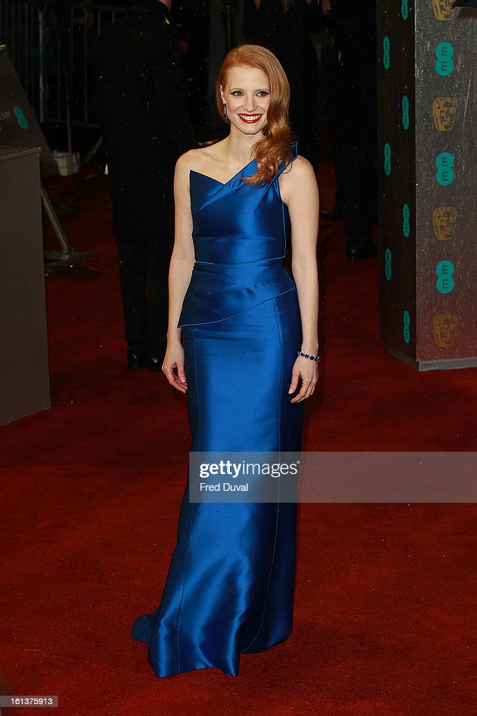 <a gi-track='captionPersonalityLinkClicked' href=/galleries/search?phrase=Jessica+Chastain&family=editorial&specificpeople=653192 ng-click='$event.stopPropagation()'>Jessica Chastain</a> attends the EE British Academy Film Awards at The Royal Opera House on February 10, 2013 in London, England.