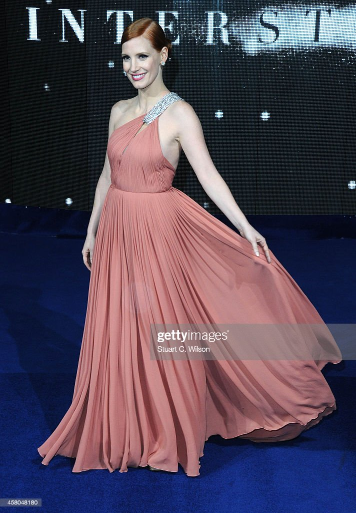 <a gi-track='captionPersonalityLinkClicked' href=/galleries/search?phrase=Jessica+Chastain&family=editorial&specificpeople=653192 ng-click='$event.stopPropagation()'>Jessica Chastain</a> attends the European premiere of 'Interstellar' at Odeon Leicester Square on October 29, 2014 in London, England.
