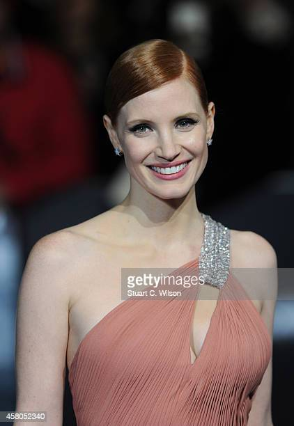 Jessica Chastain attends the European premiere of 'Interstellar' at Odeon Leicester Square on October 29 2014 in London England
