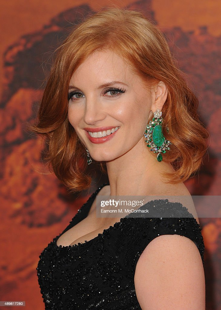 <a gi-track='captionPersonalityLinkClicked' href=/galleries/search?phrase=Jessica+Chastain&family=editorial&specificpeople=653192 ng-click='$event.stopPropagation()'>Jessica Chastain</a> attends the European premiere of 'The Martian' at Odeon Leicester Square on September 24, 2015 in London, England.