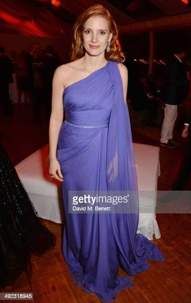 Jessica Chastain attends the 'Foxcatcher' party hosted by Annapurna at Baoli Beach during the 67th Cannes Film Festival on May 19 2014 in Cannes...