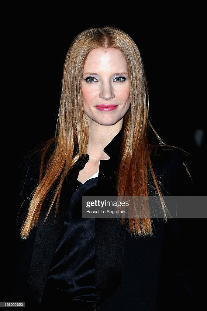 Jessica Chastain attends the Givenchy Fall/Winter 2013 Ready-to-Wear show as part of Paris Fashion Week on March 3, 2013 in Paris, France.