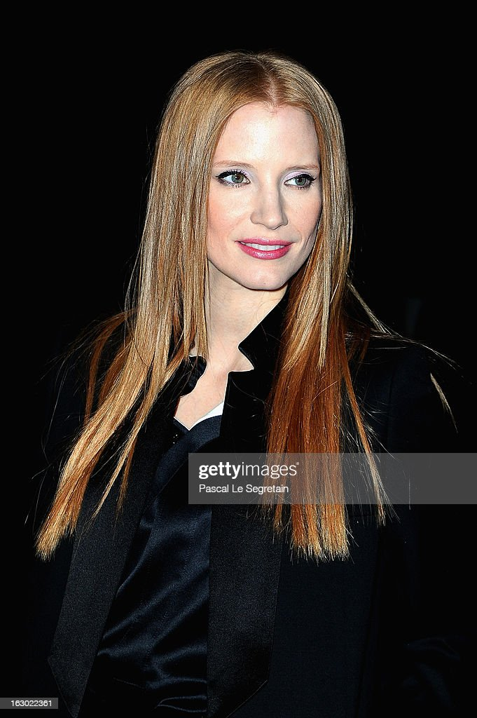<a gi-track='captionPersonalityLinkClicked' href=/galleries/search?phrase=Jessica+Chastain&family=editorial&specificpeople=653192 ng-click='$event.stopPropagation()'>Jessica Chastain</a> attends the Givenchy Fall/Winter 2013 Ready-to-Wear show as part of Paris Fashion Week on March 3, 2013 in Paris, France.