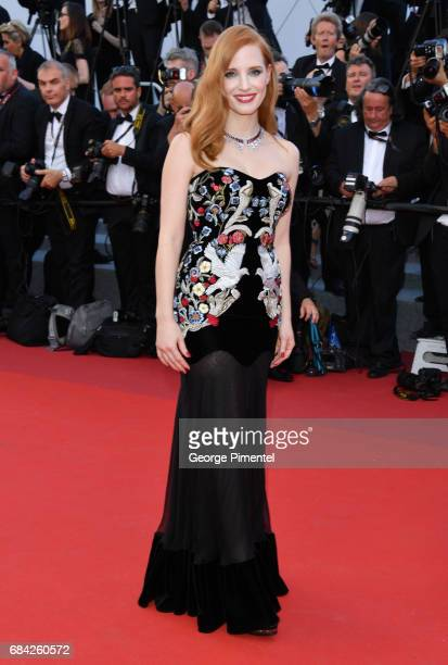 Jessica Chastain attends the 'Ismael's Ghosts ' screening and Opening Gala during the 70th annual Cannes Film Festival at Palais des Festivals on May...