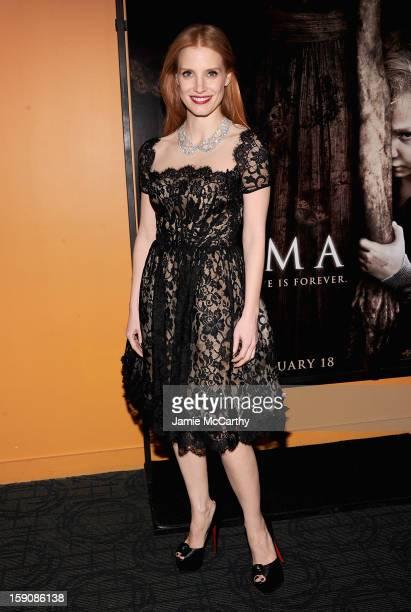 Jessica Chastain attends the 'Mama' New York Screening at Landmark's Sunshine Cinema on January 7 2013 in New York City