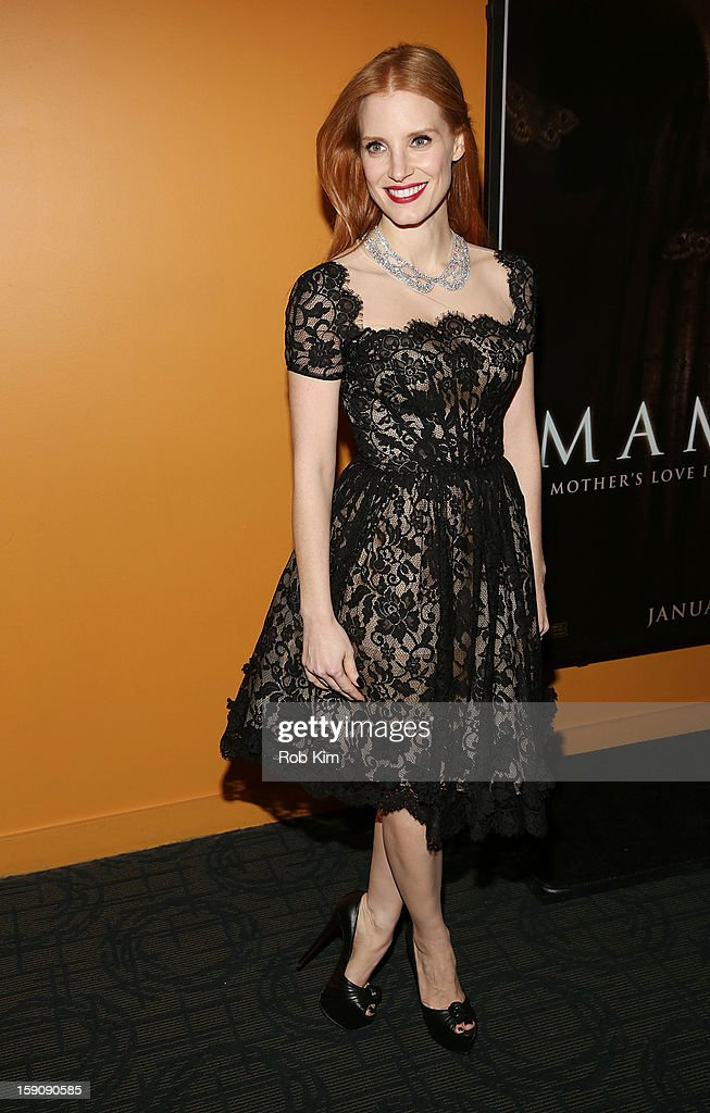 <a gi-track='captionPersonalityLinkClicked' href=/galleries/search?phrase=Jessica+Chastain&family=editorial&specificpeople=653192 ng-click='$event.stopPropagation()'>Jessica Chastain</a> attends the 'Mama' screening at Landmark's Sunshine Cinema on January 7, 2013 in New York City.