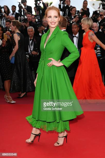 Jessica Chastain attends 'The Meyerowitz Stories' premiere during the 70th annual Cannes Film Festival at Palais des Festivals on May 21 2017 in...